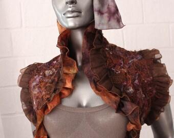Brown silk scarf-bolero .Crazy technique.Boho style .