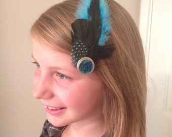 Teal Feather Fascinator