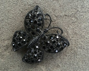 Black Rhinestone Butterfly Broach