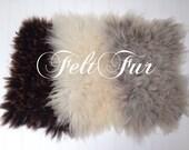 Mini Flokati, Fur rug, Flokati Mini Felt Fur Rug Mat Blanket Fleece Real Wool Hand Felted Dark Brown or Beige /Grey by Feltfur
