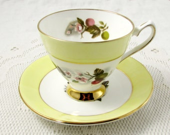 Vintage Yellow Tea Cup and Saucer, Elizabethan, Apple Blossom, Cherry Blossom, Fine Bone China