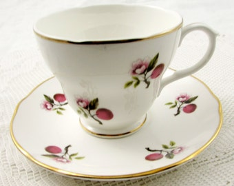 Vintage Tea Cup and Saucer with Cherry Blossom by Liverpool Road Pottery, English Bone China
