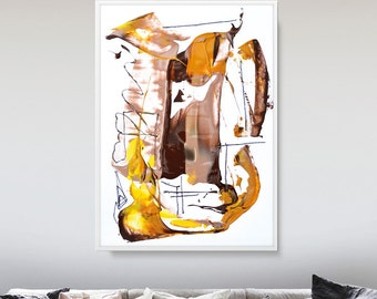 Large Abstract Painting, Earth Tones, Printable Art, Large Painting,  Printable Wall Art