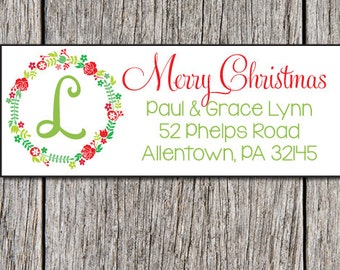 Holiday Address Labels, Personalized Christmas Stickers, Floral Laurel Holiday Label, Personalized Address Labels, Christmas Mailing Labels