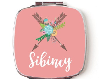 Tribal  Arrow Compact Mirror, Personalized Pocket Mirror, Custom Name, Floral Arrows, Teacher Gift, Gift for Girls or Wedding Party
