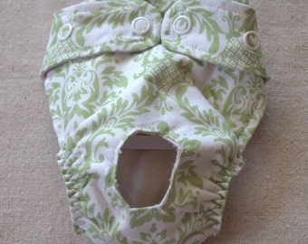 FREE SHIPPING. Dog diaper. In season diaper. Dog panty. Green Damask XX-Small