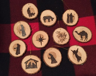 Nativity Scene Wood Burned Ornaments
