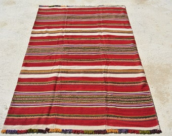 Vintage Double Turkish Handwoven Wool Blanket with Pompoms, Handspun Vegetable Dyed Wool/ 52'' x 92'' - 132 x 234 cm