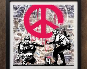 Banksy CND Soilders Urban Street Graffati Art - Framed Art Print ART63