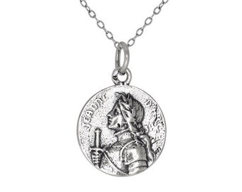 ON SALE Sterling Silver .925 Jeanne d' Arc Joan of Arc Medal Charm Pendant Necklace | Made in USA