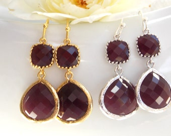 Wedding Jewelry,Burgundy Earrings, Gold, Marron Earrings, Sangria, Silver, Bridesmaid Jewelry, Dangle,Drop,Bride Gifts,Bridesmaids Gift