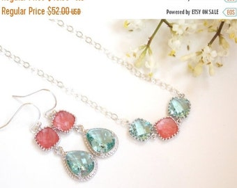 Wedding Jewelry, Earrings and Necklace, Aqua and Coral , Erinite and Grapefruit, Set, Wedding Gifts, Bridesmaids Sets, Bridesmaid Gift, Drop