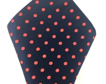 Men's Pocket Square Navy Blue with Red Polka dot. Handkerchief. Formal Suit. Tuxedo Tie Necktie Pocket Square. Navy Blue Pocket Square.