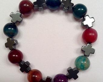 Multicolor, cross stretch bracelet