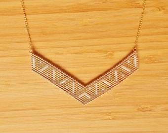 Necklace Incas Mocha gold plated and glass Miyuki beads