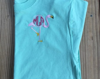 Coastal Flamingo Monogrammed Short Sleeve Tshirt