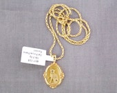 10k Yellow Gold Cat Picture Frame Pendant on 14k Yellow Gold Wheat Chain