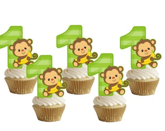 1st birthday monkey cupake toppers,cakepop toppers,cupcake decors,cupcake picks