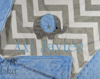Elephant Blanket, Personalized Baby Blanket, Personalized Elephant Blanket, Minky Blanket, Minky Name Blanket, Choose Your Size & Colors