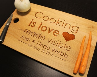 """Personalized Cooking is Love Made Visible Custom Anniversary Cutting Chopping Board Organic Bamboo or Beech for Wedding Large Size 18"""" x 11"""""""