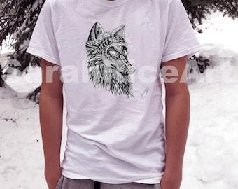 Wolf Art Shirt Short sleeve - T-Shirt - Wolf Shirt - Short Sleeve Shirt - Shirt - Wolf Art Print On Shirt- Short sleeve Shirt.