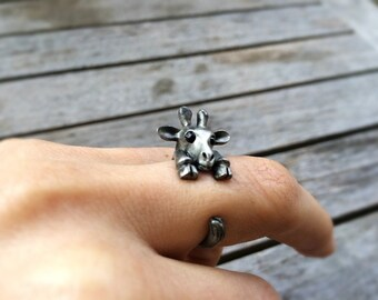 Ring - giraffe metallic gray: Adjustable ring