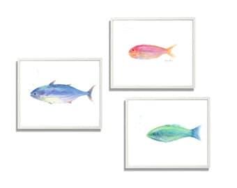 watercolor fish painting print, original watercolor,  set of 3 piece wall art, animal painting print