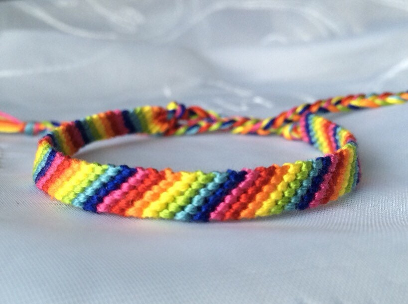 Rainbow friendship bracelet embroidery floss string