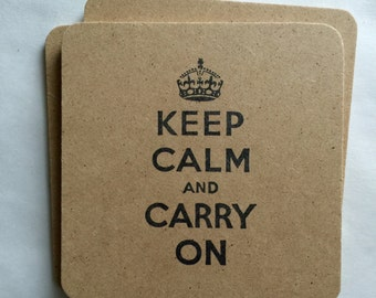 Keep Calm and Carry On 6 Pack - handmade, hand stamped, motivational keep calm crown bulk gifts, rustic, flat rate shipping