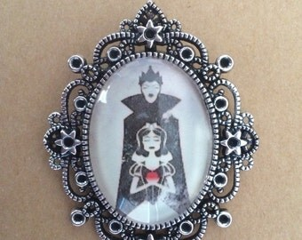 Handmade snow white and evil queen brooch, snow white brooch, evil queen brooch