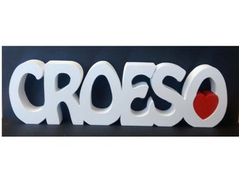 CROESO welsh saying/ meaning wooden name plaque/ sign