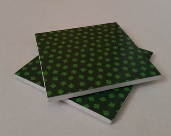 Set of Two Shamrock Coasters / St. Patrick's Day Coasters / Green Shamrock Coasters / Ceramic Coasters