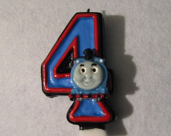 "Thomas the Tank Engine Train Birthday Candle Themed Party Painted 3"" Any Number"