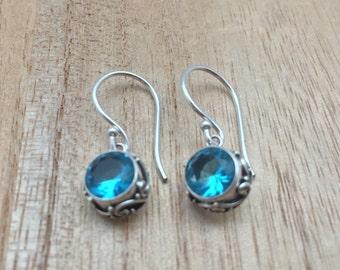 Blue Topaz Earrings // 925 Sterling Silver // Hypoallergenic // Bali Setting