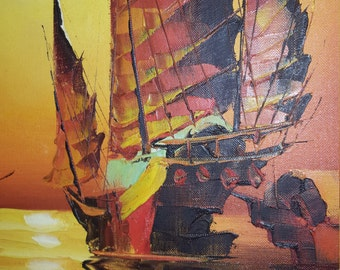 Asian Junket Boats - Burning Orange / Sunset