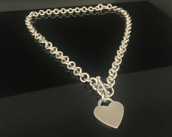 Classic Heart Toggle Necklace // 925 Sterling Silver // Heavy Round Link // 16 Inches