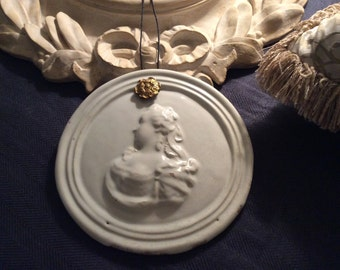 2 Very Rare 18th Century Royalist Plaques one of King Louis XVI & the other of Marie Antoinette both in Faience de Rouen