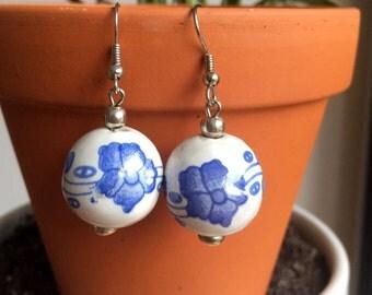 Ceramic blue round bead beads drop handmade earrings