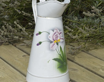 Vintage French Enamel White Water Pitcher / Jug with Lilly Motif * Authentic French Shabby Chic - Country Farmhouse - Chippy