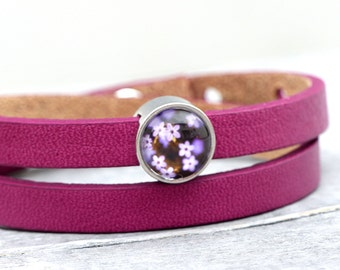 "Leather Bracelet ""Purple flowers"""
