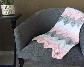 Custom Crochet Baby Blanket, Chevron Baby Blanket, Modern Baby Blanket, Baby Afghan, Crochet Blanket, Striped Baby Blanket, Baby Shower Gift