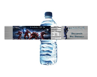 Halo 5 Personalized Water Bottle Label Set of 5 (Printable) (DIY)