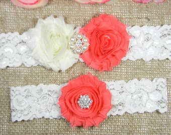 Wedding Garter, Wedding Garter Set, Bridal Garter Set, Ivory and Coral Garter, Keepsake Garter, Toss Garter, Shabby Flower Wedding Garters