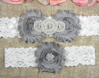 Silver Gray Wedding Garter Set, Wedding Garter, Lace Bridal Garter Set, Keepsake Garter, Toss Garter, Pearl and Crystal Rhinestone Garter