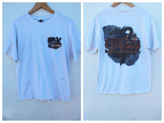Harley davidson t shirt dingy white trashed tee large for Dingy white t shirts