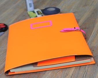 A4 recycled leather buckle folder with notepad and pocket