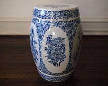 Vintage CHINESE GARDEN STOOL Famille Rose Porcelain Ceramic Pottery White Blue asian oriental japanese feng shui zen barrel buddha antique