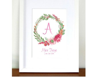 A3 Personalised New Baby Print UNFRAMED