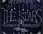Who has been unhooking the stars?, Les Miserables Grantaire quote typography illustration8.5 x 11 Art Print Poster Wall Décor Wall Hanging
