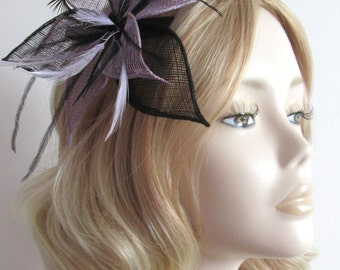 LILAC and BLACK FASCINATOR, With sinamay petals, biot feathers, sequin detail, on clip,Colour Dusky Lilac